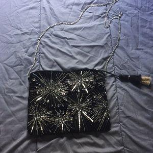 Black velvet sequined bag